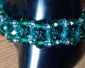 "Sea green crystal and silver lined clear glass seed beaded bracelet 8"" with 1/2"" extender chain"
