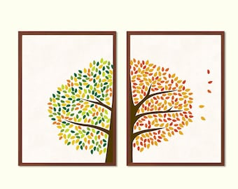 TREE | Spring & Autumn Poster : Modern Illustration Retro Art Wall Decor Print