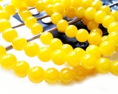 20 Opaque Yellow Beads - 10mm Round Glass Beads - Jelly Beads, B1042
