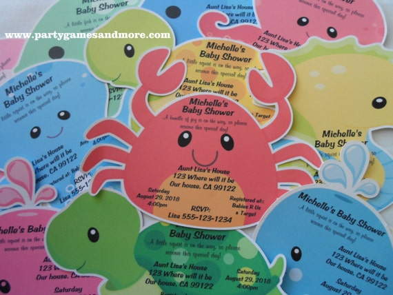 unique personalized under the sea theme baby shower invitations with