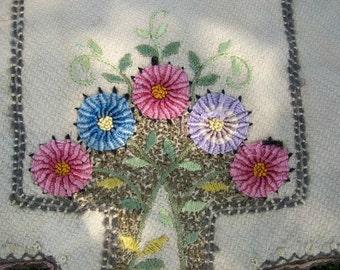 Vintage 30's or 40's Fancy Embroidered Table/Dresser Runner
