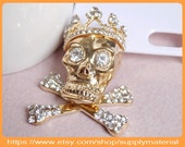 1PCS Bling Crystal rhinestones Golden skull Bone 3D alloy Jewelry Accessories for diy phone case deco