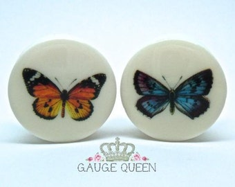 "Butterfly Plugs / Gauges. 4g /5mm, 2g /6.5mm, 0g /8mm, 00g /10mm, 1/2"" /12.5mm, 9/16"" /14mm, 5/8"" /16mm, 3/4"" /19mm, 7/8"" /22mm, 1"" / 25mm"