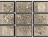 Old Paris Map Art Print 1823 Antique Map Archival Reproduction - Set of 9 Prints