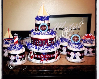 Package Nautical 3 tier Diaper Cake and 5 Diaper Cake minis/its a boy baby shower gift or decoration/nautical theme party/light house/sail