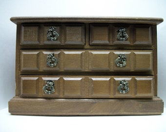 Vintage Wood Jewelry Box Musical midsize