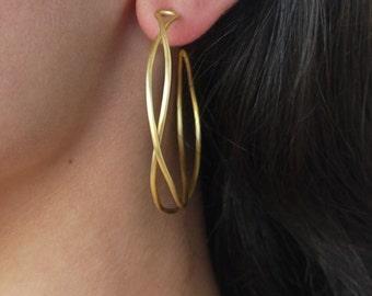Gold hoop earrings - 24k gold plated brass earrings - Large hoop earrings