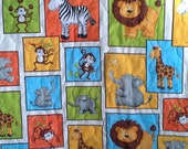 Monkey Mischief and Other Jungle Animals - Crib/Toddler or Play Mat In Bright Gender Neutral Colors