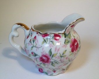 Lefton Creamer / Vintage Lefton China Rose Chintz Creamer with Roses & Gold edging Small