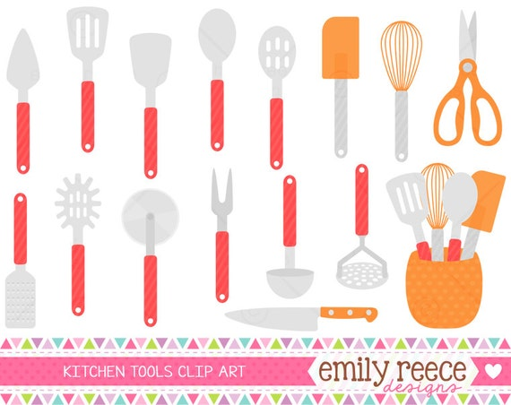 Kitchen Utensils Tools Cooking Baking Cute Clip Art