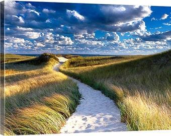 Beach Decor Canvas Gallery Wrap Coastal Decor Large Wall Art Martha's Vineyard Cape Cod Blue Green Beige Yellow White Dunes Grass