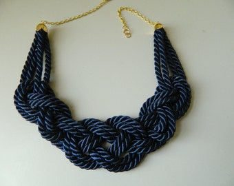 Navy Rope Necklace Sailor Knot necklace Nautical Necklace bib necklace fiber wife gift nautical wedding Mothers Day gift bridesmaid gift