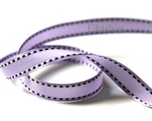 3 yards 7/16 inch 11mm Double Sided Purple and White Stitch in Lavender Satin Ribbon (KR0042) - Fikashop
