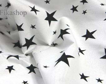 Yard - Black Stars in White 100% Cotton by Gage - Fikashop