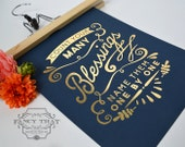 Count Your Many Blessings Gold Foil art print - Metallic / Shine - Inspirational Ornate Typography Poster Print - Navy card stock