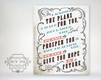 8x10 art print - For I Know the Plans... Aged Mint, Coral & Black, Ornate Frame - Typography Poster Print - Jeremiah Scripture Bible Verse