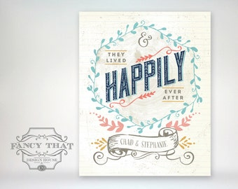 8x10 art print - And They Lived Happily Ever After - Wedding / Anniversary Gift - Wood grain & Aged / Folk Art Typography Poster Print