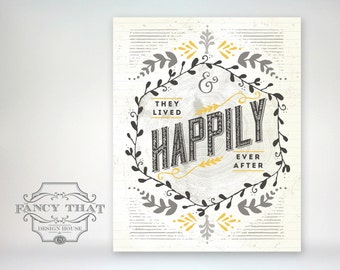 8x10 art print - They Lived Happily Ever After - Wedding / Anniversary Gift - Wood grain, Greys and Gold / Folk Art Typography Poster Print