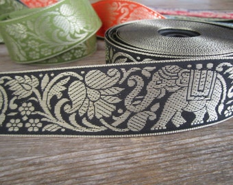 TWO yards of elephant & lotus flower Indian sari trim in BLACK and gold - 40mm wide. Other colours available.  Elephant ribbon, sari ribbon