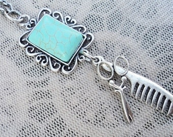 Poetic Turquoise The Earth is Square Scissor and Comb Charm Hair Stylist Necklace