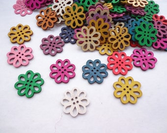 Flowers Wooden Buttons -22mm--50 pcs