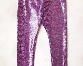 Purple Leggings - Baby leggings - Metallic Leggings - Summer Leggings - All Sizes