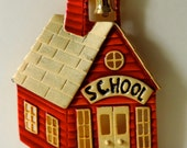 Vintage Gold Tone Red Schoolhouse Brooch