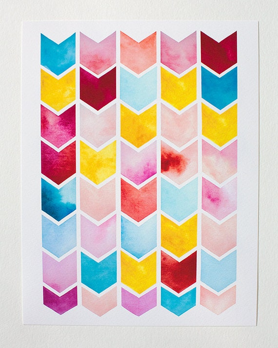chevron watercolor PRINT -  geometric pattern - nursery artwork -  pink, yellow, red, turquoise, coral