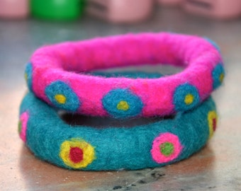A Set of 2 Felted Dots  Bangles