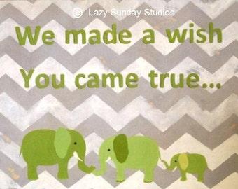 5x7 Chevron Green and Grey Elephant Digital Download Print - Nursery Fine Art Print - Nursery Wall Art