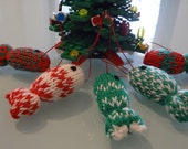 FISH christmas tree ornament hand knit plush