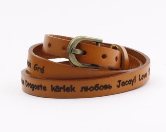 Custom Engraved Personalized Leather Triple Wrap Bracelet Cuff Genuine Real LeatherOval Buckle Black Brown Tan White Green B054-PS