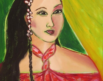 Original abstract impressionist painting ~Fauvist Portrait~ by Rivkah Singh Island woman from Tahiti