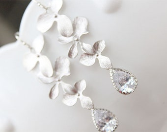 Silver Flower Wedding Earrings - Bridal Chandelier Earrings - Sterling Earwire - Bridesmaid Earrings, Bridal Jewelry