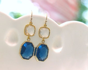 Navy and Gold Earrings - Sapphire Gold Dangle Earrings - Square Drop - Estate Vintage Style  - September - Bridesmaid Navy Earrings -