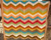 Crochet baby blanket , afghan ripple - chevron crochet, colorful, natural colors
