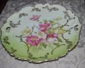 Incredible Handpainted Rose Lusterware Cake Plate ECS
