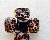 Vintage cheetah flower brooch