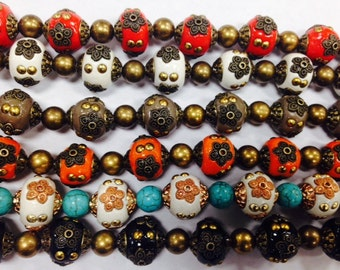 15mm round handmade tibetan resin beads with meatl flower and accents, 13 beads
