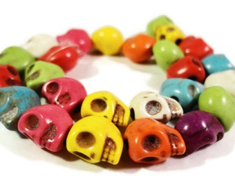 Skull Gemstone Beads 8x6mm Multicolor Skeleton Day of the Dead Halloween Dyed Howlite Stone Beads on a 7 1/2 Inch Strand with 25 Beads