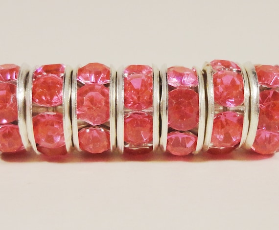 Rhinestone Rondelle Beads 8mm Hot Pink Silver Plated Metal Acrylic Rhinestone Crystal Spacer Beads for Jewelry Making 50 Loose Beads