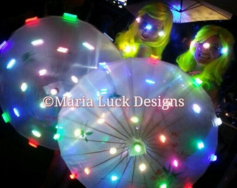 LED Umbrella Asian Umbrella for stage performance rave festival Halloween Go go dance by Maria Luck