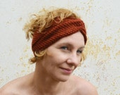 Knitted turban headband, copper, burnt orange bandana, ear warmer, winter accessory