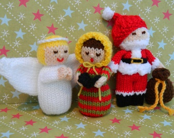 Knitted Father Christmas Pattern Free : Christmas Angel, Father Christmas & Carol Singer - Christmas Toy Knitting...