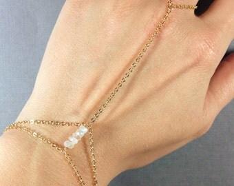 Moonstone Hand Chain - Moonstone Slave Bracelet - Moonstone and Gold Slave Bracelet