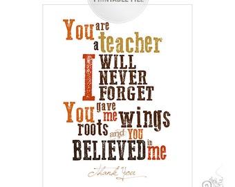 Teacher Appreciation Printable / Thank You Teacher Typography Digital File / Teacher Gift Ideas / Orange // 8x10
