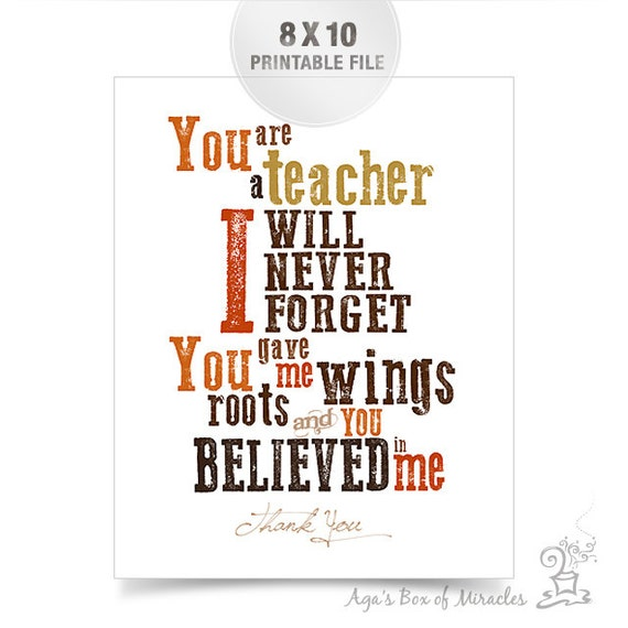 Free Thank You Quotes And Sayings: Teacher Appreciation Printable / Thank You By