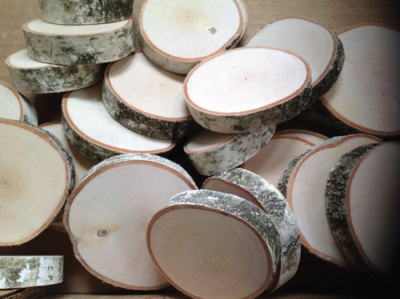 25 white birch tree wood slices for wedding by for White birch log crafts