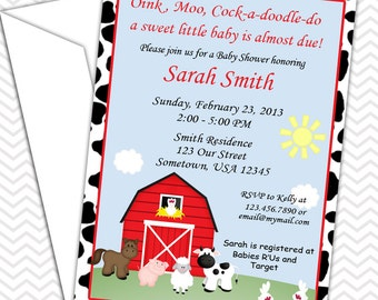 Barn Yard Farm Animals Red Cow Print Invitations PRINTABLE - Birthday Party - Baby Shower