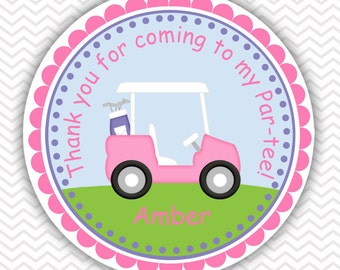 Golf Cart Pink - Personalized Stickers, Party Favor Tags, Thank You Tags, Gift Tags, Address labels, Birthday, Baby Shower